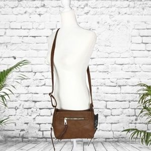 A+ Brown Faux Leather Crossbody Bag